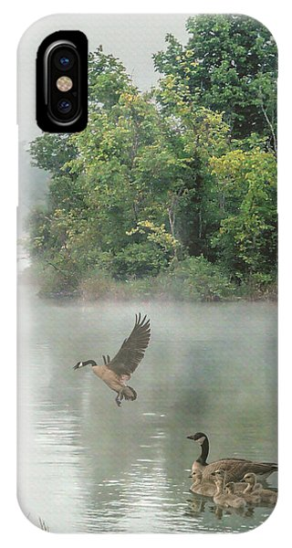 Geese On Misty Lake IPhone Case