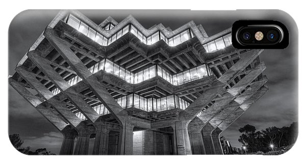 Geisel Library In Black And White IPhone Case