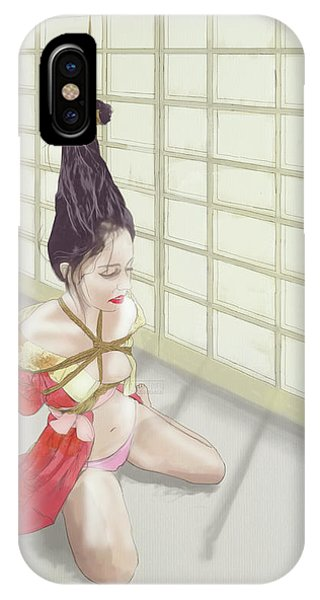 IPhone Case featuring the mixed media Geisha by TortureLord Art