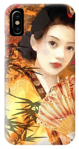 Mo iPhone Case - Geisha With Fan by Mo T