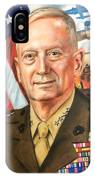 Pastel Pencil iPhone Case - General Mad Dog Mattis by Robert Korhonen
