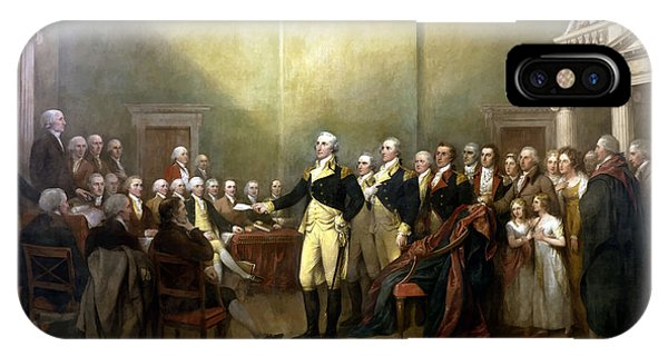 George Washington iPhone Case - General Washington Resigning His Commission by War Is Hell Store
