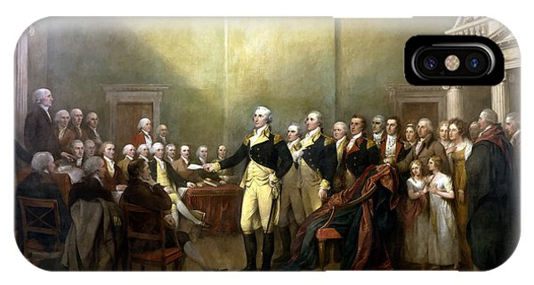 Hero iPhone Case - General Washington Resigning His Commission by War Is Hell Store