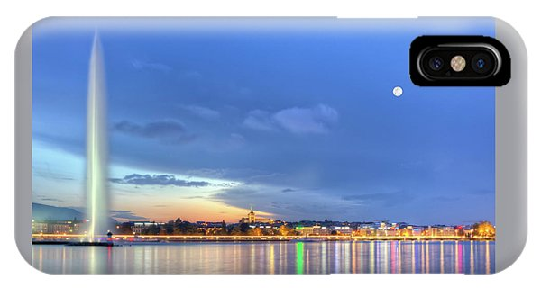 Geneva Lake With Famous Fountain, Switzerland, Hdr IPhone Case