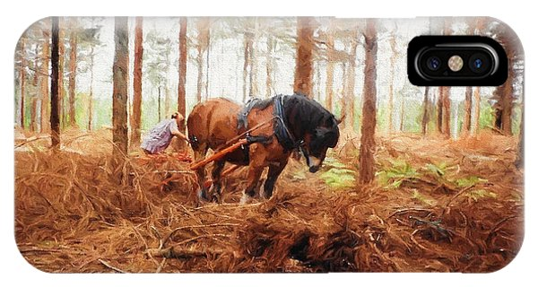 Gentle Giant - Horse At Work In Forest IPhone Case