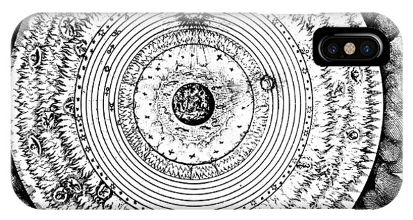 Space iPhone Case - Geocentric Universe Showing The Earth Surrounded By The Spheres Of Water, Air And Fire, And Stars by Robert Fludd