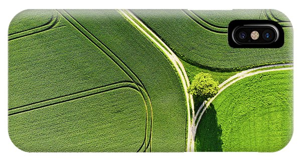 Geometric Landscape 05 Tree And Green Fields Aerial View IPhone Case