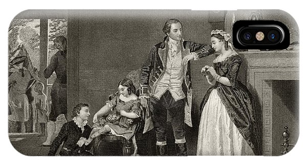 Fireplace iPhone Case - George Washington's First Interview With Mrs Martha Custis by Alonzo Chappel