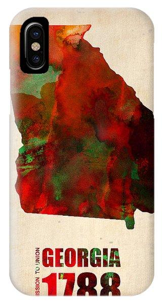 Georgia iPhone Case - Georgia Watercolor Map by Naxart Studio
