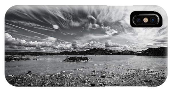 Michael iPhone Case - Geothermal Pool In Iceland Bw by Michael Ver Sprill