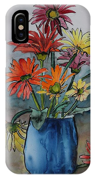 Gerberas In A Blue Pot IPhone Case