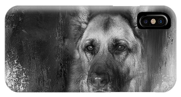 German Shepherd In Black And White IPhone Case
