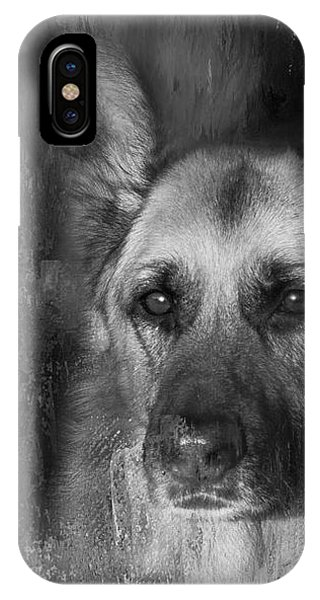 German Shepherd In Black And White IPhone Case