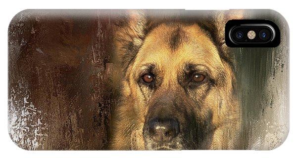 German Shepherd Portrait Color IPhone Case
