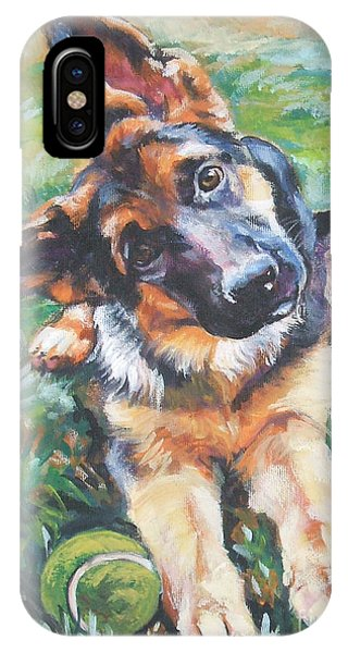 German Shepherd Pup With Ball IPhone Case