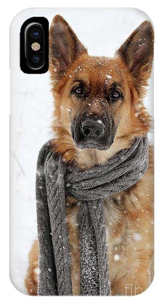 German Shepherd Wearing Scarf In Snow IPhone Case