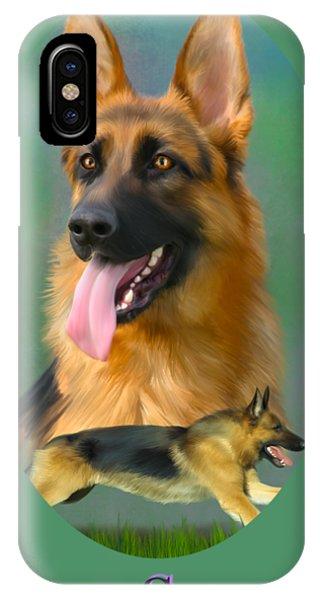German Shepherd With Name Logo IPhone Case