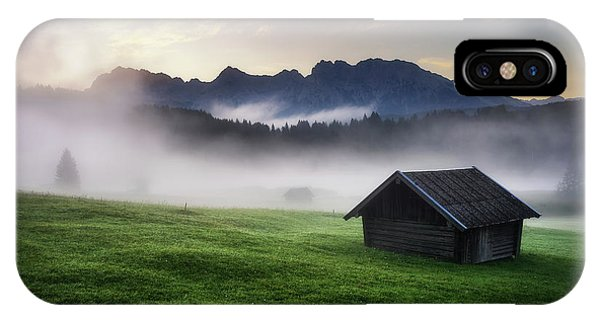 Geroldsee Forest With Beautiful Foggy Sunrise Over Mountain Peaks, Bavarian Alps, Bavaria, Germany. IPhone Case