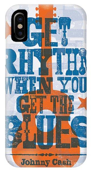 Johnny Cash iPhone Case - Get Rhythm - Johnny Cash Lyric Poster by Jim Zahniser