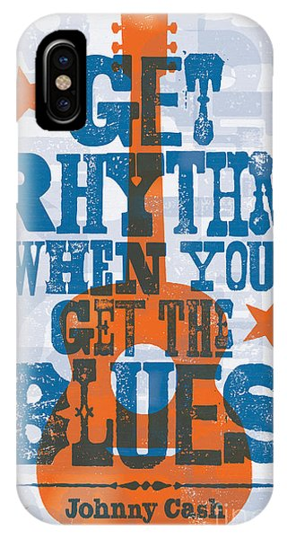 Johnny Cash iPhone Case - Get Rhythm - Johnny Cash Lyric Poster by Jim Zahniser
