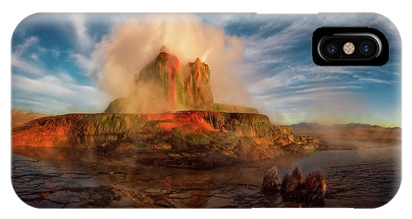 Geyser Steams At Dawn IPhone Case