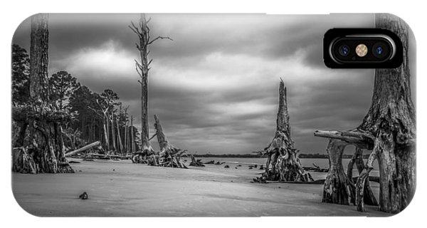 Ghosts Of Giants Above The Sand - Bw IPhone Case