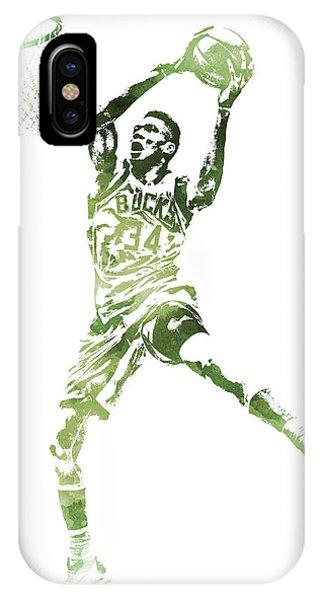 Tickets iPhone Case - Giannis Antetokounmpo Milwaukee Bucks Water Color Pixel Art 1 by Joe Hamilton