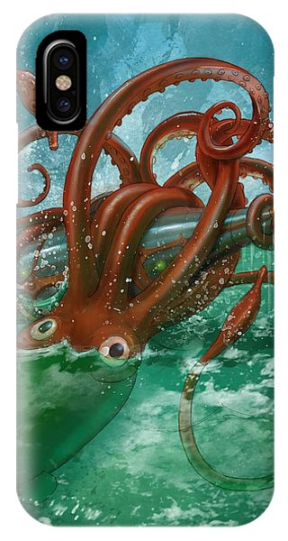 Giant Squid And Nautilus IPhone Case