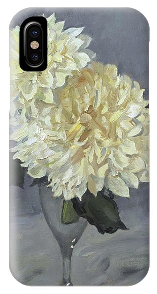 Giant White Dahlias In Wine Glass IPhone Case