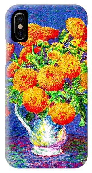 Amber iPhone Case - Gift Of Gold, Orange Flowers by Jane Small