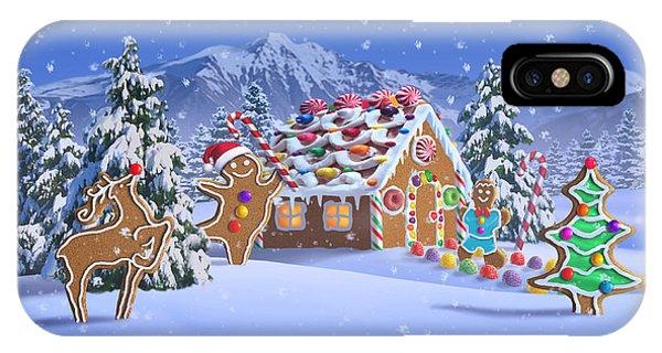 Reindeer iPhone Case - Gingerbread House by Jerry LoFaro
