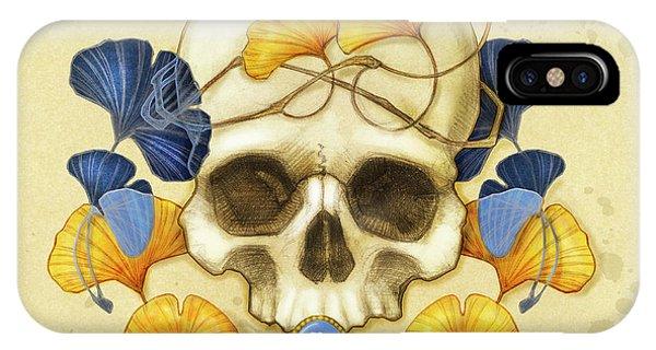 Skull iPhone Case - Ginkgo Relic by Catherine Noel