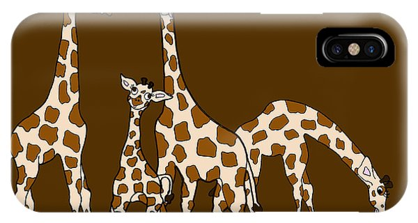 Giraffe Family Portrait Brown Background IPhone Case