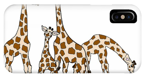 Giraffe Family Portrait In Brown And Beige IPhone Case