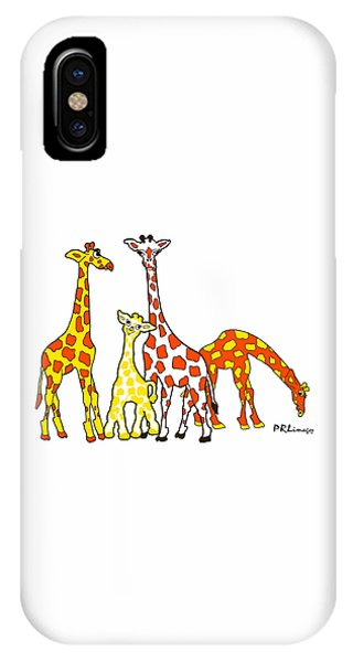 Giraffe Family Portrait In Orange And Yellow IPhone Case