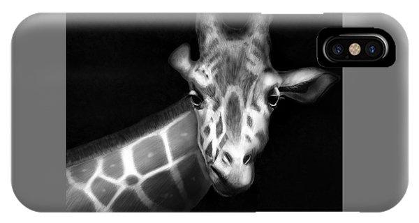 Giraffe In Black And White IPhone Case