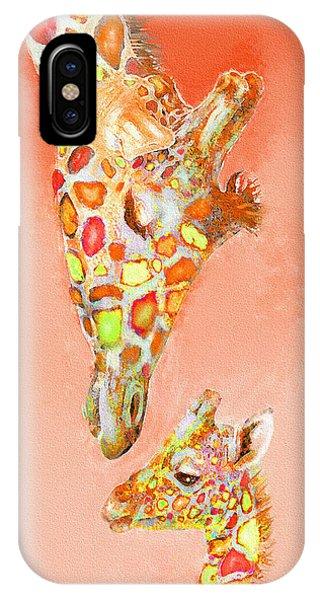 Giraffe Love- Orange IPhone Case