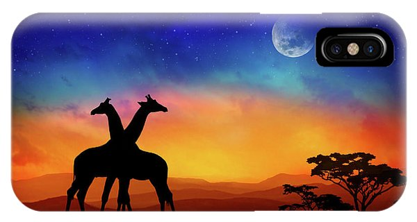 Africa iPhone X Case - Giraffes Can Dance by Iryna Goodall