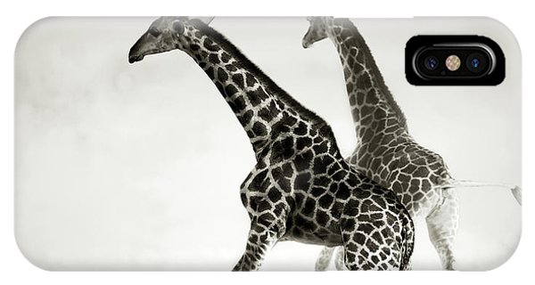 Dust iPhone Case - Giraffes Fleeing by Johan Swanepoel