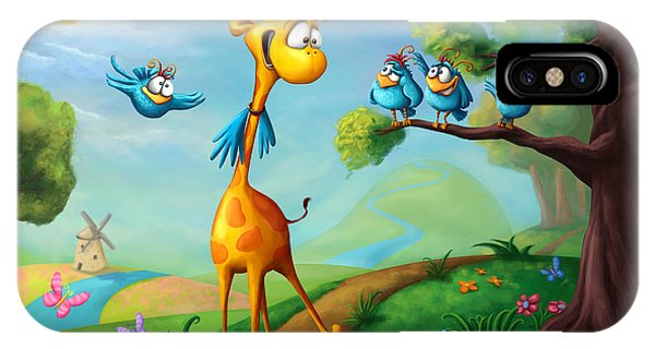 Flying iPhone Case - Giraffraf by Tooshtoosh