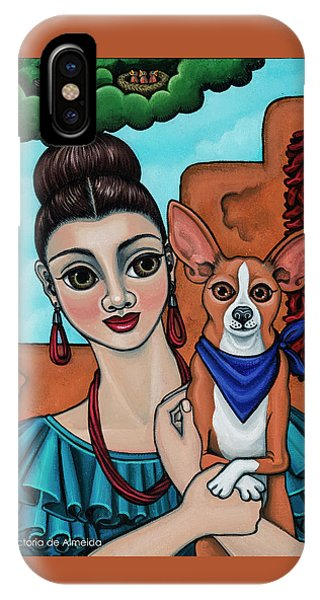 Girl Holding Chihuahua Art Dog Painting  IPhone Case