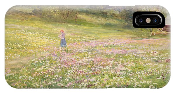 Girls In Pink iPhone Case - Girl In A Field Of Poppies by John MacWhirter