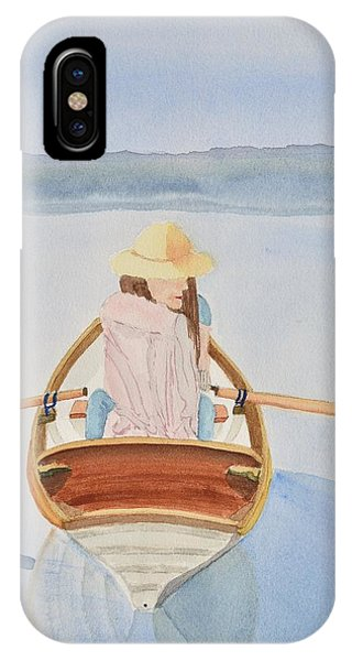 Girls In Pink iPhone Case - Girl In Rowboat by Linda Brody