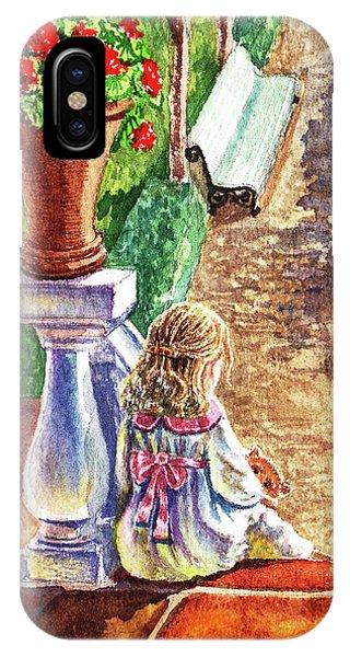 Porch iPhone Case - Girl In The Garden With Teddy Bear by Irina Sztukowski