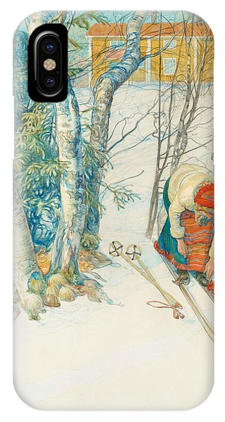 Art And Craft iPhone Case - Girl On Skis by Carl Larsson