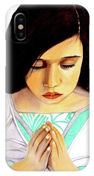 Girl Praying Drawing Portrait By Saribelle IPhone Case