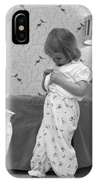 Pajama iPhone X Case - Girl Putting On Pajamas, C.1960s by H. Armstrong Roberts/ClassicStock
