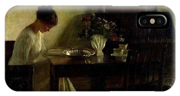 Girls iPhone Case - Girl Reading In An Interior  by Carl Holsoe