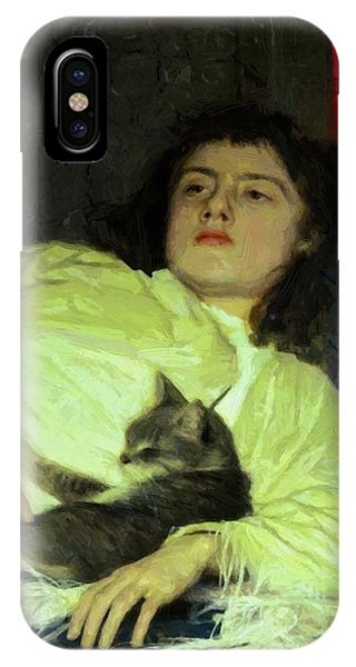 Girl With A Cat 1882 IPhone Case