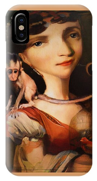 Girl With A Pet Monkey IPhone Case